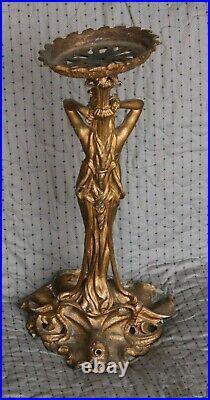 Antique 20 Cast Metal Plant Stand Art Nouveau Lady in Shell Heavy 9 Pounds