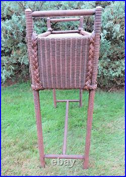 Antique Art Deco Wood & WICKER Fernery PLANT STAND with Metal Insert