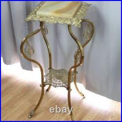 Antique Art Nouveau Metal Plant Stand Marble Top Ornate Victorian Side Table