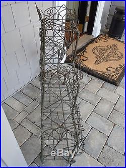 Antique Authentic Victorian Era Tiered French Wire Garden Plant Stand