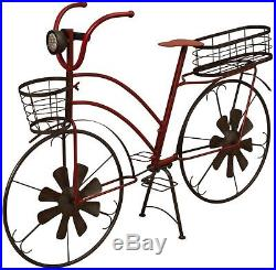 Antique Bicycle Plant Stand Wind Spinners Solar Lighted Metal Yard Garden Decor