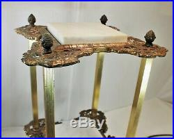 Antique Brass & Marble Plant Stand Metal 2 Tier Ornate Side Table Fern Stand