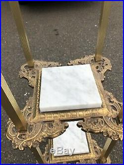 Antique Brass Marble Plant Stand Metal 3 Tier Ornate Side Table Lamp Stand Rare
