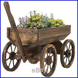 Antique Brown Wood Wagon Pot Flower Planter Yard Rustic Cart Wheel Garden Decor