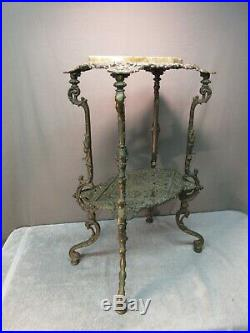 Antique Cast Iron Table with Marble Top (ornate metal plant stand)
