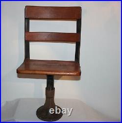Antique Child's School Desk Chair Metal Wood Garden Plant Stand Farm House