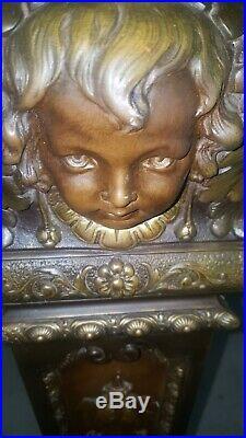 Antique Metal Pedestal Plant Stand w Repousse Cherub Faces French Bronzed