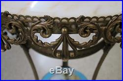 Antique Metal Plant Stand with Marble Top