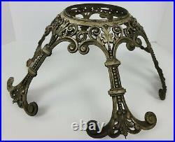 Antique Ornate Cast Metal Pedestal Plant Stand Base Plate Bowl Holder Light Part