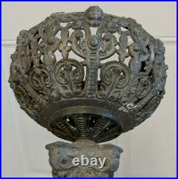 Antique Ornate Cherub Victorian Metal Plant Stand Decor Rare 17 Tall
