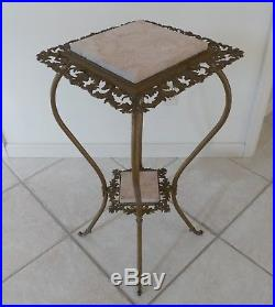 Antique Pair Victorian Plant Fern Stands Tables Ornate Metal Pink Marble Inserts