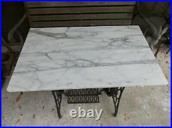 Antique SINGER SEWING MACHINE BASE Table Plant Stand W ITALIAN MARBLE TOP LPUO