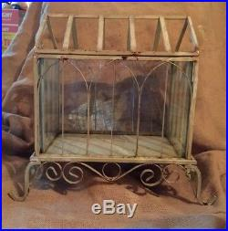 Antique Terrarium Metal Vintage Glass Stand Hinged Plant Stand