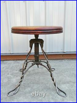 Antique VICTORIAN WIRE LEG PIANO STOOL Organ Bench MUSIC SEAT Table Plant Stand