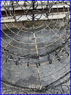 Antique Victorian Demilune Metal Wire 3 Tier Plant Stand