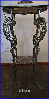 Antique Victorian Metal & Marble Plant Stand