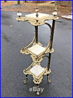 Antique Victorian Ornate Onyx Brass Bronze 3 Tier Plant Stand Planter Table