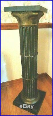 Antique Victorian Pedestal Metal Plant Bust Stand Fluted Pillar Column Brass 36