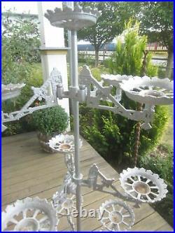 Antique Victorian Plant Stand cast metal 10 Holders complete Eastlake