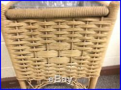 Antique Vintage Square Wicker Planter Plant Stand With Metal Insert 28 X 11