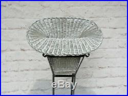 Antique Vintage Victorian Plant/Flower Stand Wrought Iron with Wicker Basket