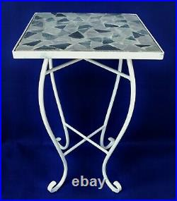 Antique/Vtg Grey & White Wrought Iron Stone Tile Top Side/End Table Plant Stand