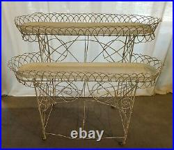 Antique Wire 2 Tier Plant Stand With TRAYS 38W Very Nice Original Metal Feet