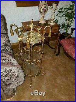Antique furniture Metal Glass Plant Stand rose pedal detail 3 tier old table