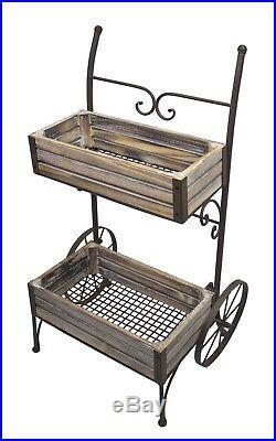 Antiqued indoor outdoor Plant Flower Cart Iron metal, wood Garden stand withWheels