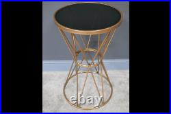 Art Deco Style Gold Metal And Glass Plant Stand Occasional End Table CoffeeTable