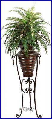 Artificial Silk Fern Plant Tall High End Metal Planter Pot 6 ft Stand Brown