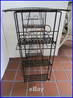 Atomic Mid Century Black metal Mesh table Magazine Rack stand Rack Plant 28¾ H