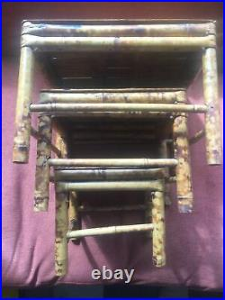 BAMBOO NEST OF 3 TABLES BOHEMIAN VINTAGE RETRO All Wood No Metal, Plant Stands