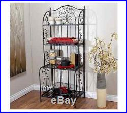 Fabulous Bakers Rack Black Kitchen Metal Plant Stand Folding Indoor Interior Design Ideas Gentotryabchikinfo