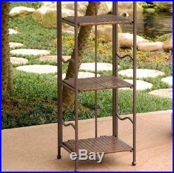 Bakers Rack Furniture Kitchen Plant Stand Indoor Outdoor Metal Antique Brown