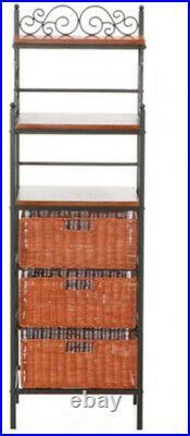 Bakers Rack Storage Shelf Drawer Kitchen Metal Wood Shelves Plant Stand Black
