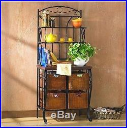 Bakers Rack With Drawers Wine Storage Plant Stand Scrolled Metal Wicker 3 Pc NEW