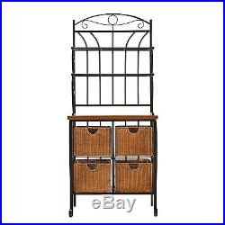 Bakers Rack with Drawers for Kitchens Storage Plant Stand Shelves Iron Rattan
