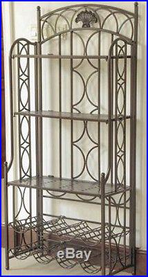 Bakers Rack with Wine Storage Plant Stand Iron Metal Rustic Kitchen Outdoor