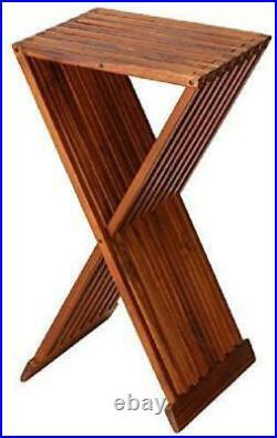 Bare Decor Taj Folding Plant Stand Pedestal Table In Solid Teak Wood, 28 High