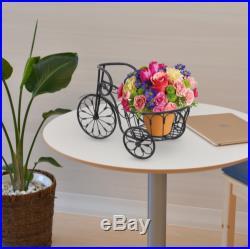 Bicycle Plant Stand Wrought Iron Metal Rack Flower Outdoor Indoor Garden Decor