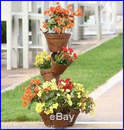 Bird Accented Multi Pot Planter Stand Garden Yard Flower Pot Metal Plant Holder