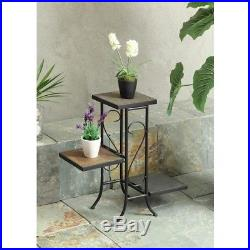 Black Indoor Plant Stand Storage Shelves Natural Rustic Slate Top Metal Frame