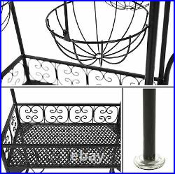 Black Metal Freestanding Scrollwork Plant Stand with 4 Hanging Flower Pot Baskets