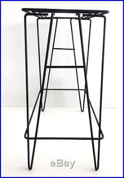 Black Metal Wrought Iron Stand Table Vtg MCM Hairpin Leg Plant Fish Tank