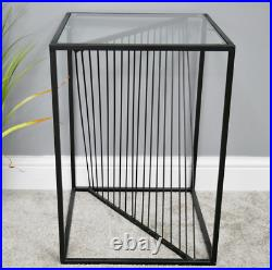 Black Side Table Industrial Metal Square Side End Coffee Lamp Unit Plant Stand