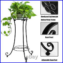 Black Tall Metal Plant Stand Flower Pot Holder Indoor Outdoor With Adjustable Feet