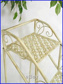 Blumentreppe Pflanzentreppe Vintage Blumenregal Metall weiß Shabby Chic (6435)