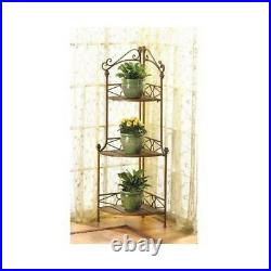 Bronze brown Corner Metal Wood 3 Shelf Flower pot curio Plant Stand bakers rack