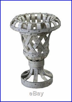 Cache Pot Vase Fleur Ancien Metal Blanc Decoration Jardin Inde 28x38cm 4,6kg